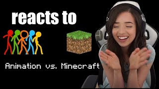 Pokimane reacts to Animation vs. Minecraft (original) by Alan Becker