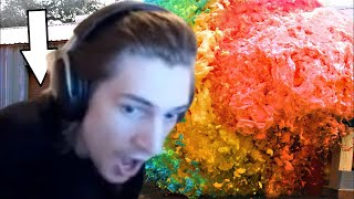 xQc Reacts to World's Largest Devil's Toothpaste Explosion by Mark Rober with Chat!