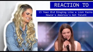 NYC Voice Teacher reacts to ➠ 13 Year Old Singing Like a Lion Earns Howie's America's Got Talent