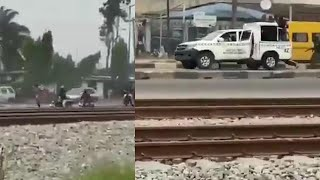 SEE HOW OKADA RIDERS CHASE LAGOS TASK FORCE OFFICERS
